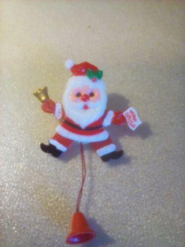 Vintage Plastic Pull String Santa Claus Christmas Pin Made in Hong Kong