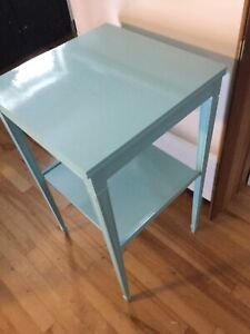 Tall blue side table- avail-
