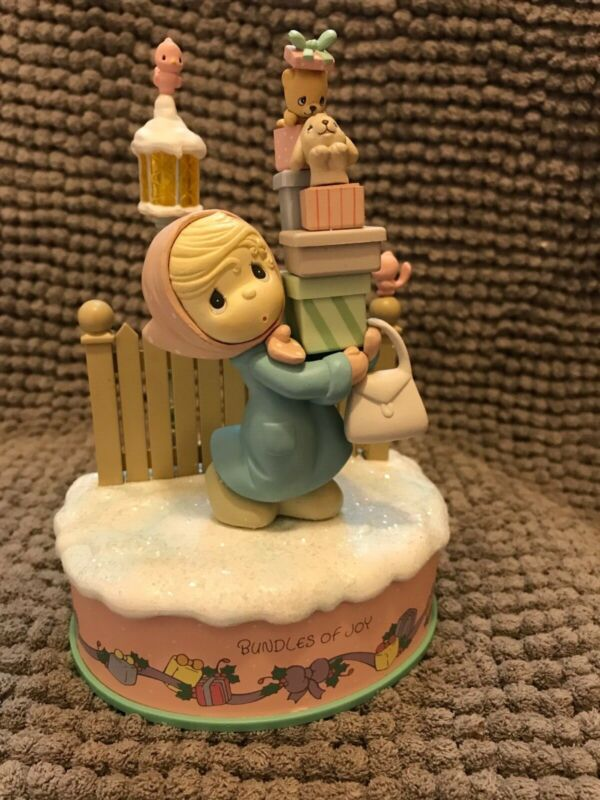 "18"" PRECIOUS MOMENTS CHRISTMAS ANIMATED FIGURE BUNDLES OF JOY Display Vtg Doll"