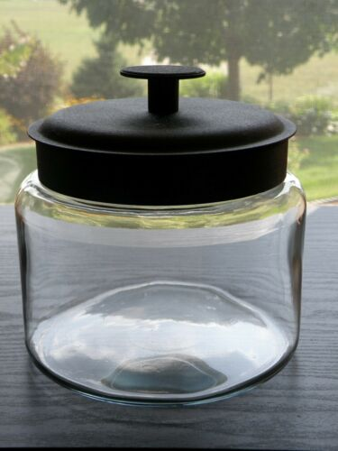 "Anchor Hocking MONTANA Clear Glass Round 6"" Apothecary Storage Jar Black Lid."