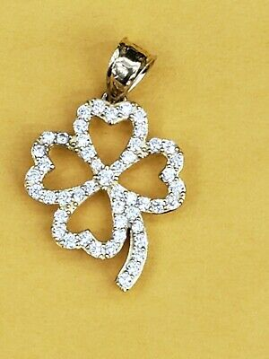 14k Yellow Gold  Four hearts Leaf Clover Flower Charm Pendant with white stones (14k Yellow Gold Clover)