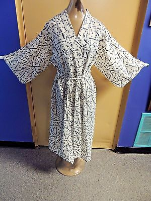 Vintage Qantas Airline Robe Kimono 100% Cotton Lounging International Flight