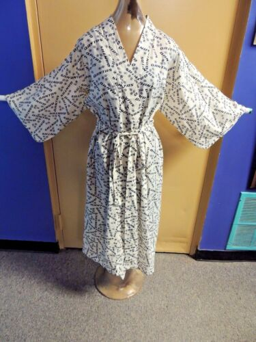 Vintage Qantas Airline Robe Kimono 100% Cotton Lounging International Flight WOW