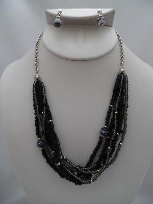 Clip on silver chain black, gray & white seed bead necklace & earring set ()
