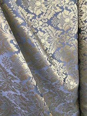 BLUE GOLD Damask Jacquard Brocade Flower Floral Fabric (110 in.) Sold BTY - Gold Fabric
