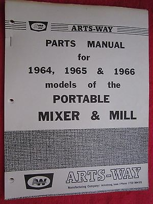 1964 1965 1966 Arts-way Models Of Portable Mixer Mill Parts Manual