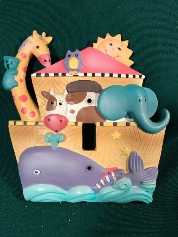 Noah's Ark Single toggle switch cover plate Nursery Children's Room