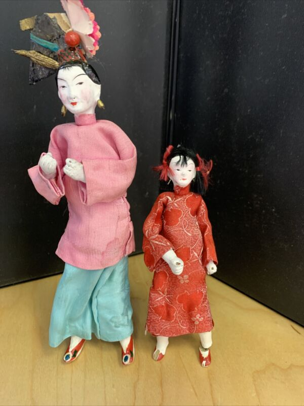 Antique Vintage Asian Chinese Doll Pair Mom & daughter Silk Clothes Chalkware