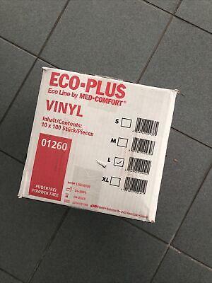 Ampri Eco Plus 10x100 Stück VINYL WEISS Einweg Einmal Handschuhe L PUDERFREI