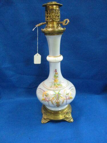 VICTORIAN FRENCH CARCEL PARIS PORCELAIN BLUE FLORAL OIL TABLE LAMP ELECTRIFIED