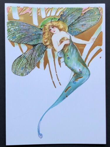 Blank Art Note Card DRAGONFLY FAIRY Schmucker NOS Pleiades Press 142 gold detail