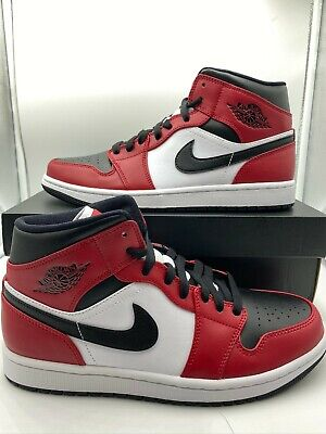 Nike Air Jordan 1 Retro Mid Chicago Bred Mens Size Black Red White 554724-069