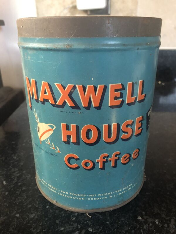 Vintage Maxwell House Coffee Tin, 2 pound can
