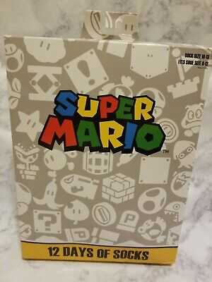 Super Mario 12 Days Of Socks Boxed Gift Set Bioworld Sock Size 10-13/shoe 8-12