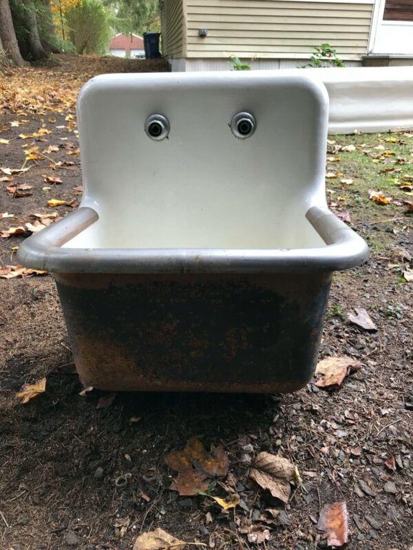 Vintage Enameled Cast Iron Industrial Sink