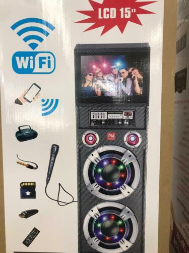 WIFI BLUETOOTH DOUBLE 12 INCH SPEAKER WITH 15 INCH TOUCH SCREEN WIRED MICROPHONE