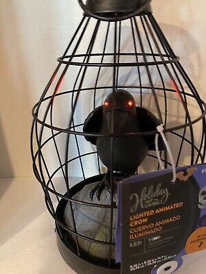 Gemmy Crow in Cage Animated Sound Halloween Prop Haunted House Life Size