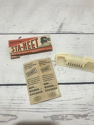 Vintage 50's Sta-Neet Haircut Comb With Original packaging FREE SHIPPING