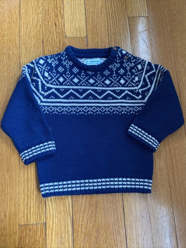 Mayoral Baby Boy Sweater Navy Blue 18 Months 100% Acrylic