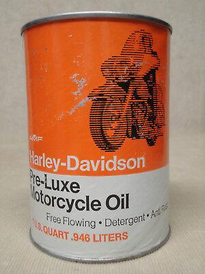Vtg Harley Davidson Quart Oil Can Orange PreLuxe Cardboard Unopened Nice Cond