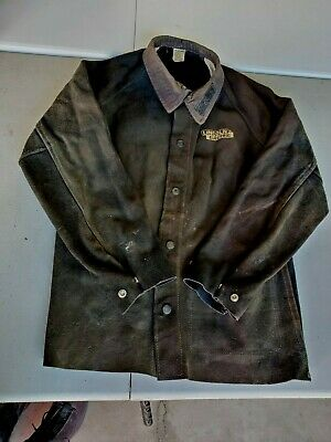 Good Condition Lincoln Electric K2989-m Heavy Duty Leather Welding Jacket Medium
