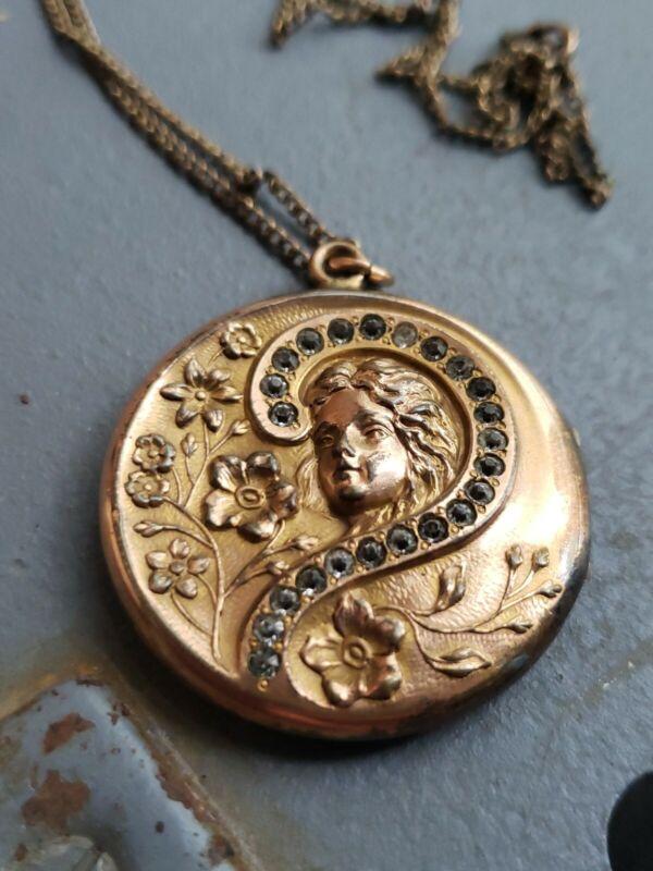 Antique Gold-Filled & Rhinestone Art Nouveau LOCKET Signed S&BL ☆ VERIBEST