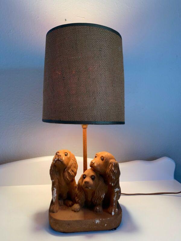 RARE VINTAGE LAMP THREE COCKER SPANIEL DOGS SITTING A.N. BROOKS ? WORKS!