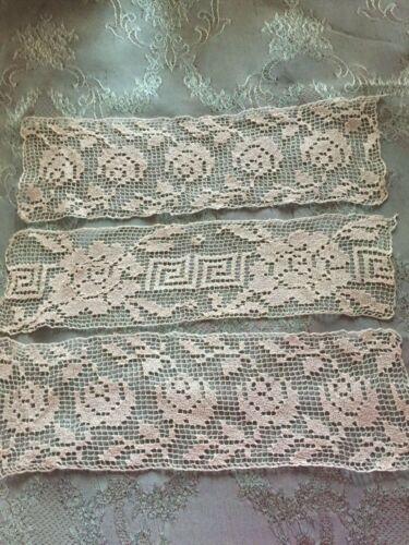 Three Beautiful Vintage Handmade Filet Lace Doilies