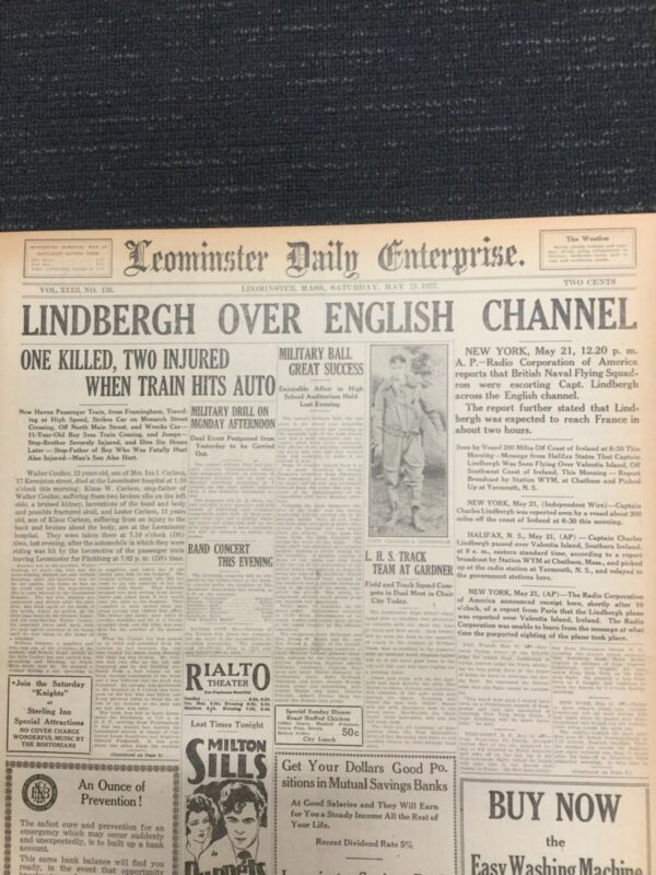 Charles Lindbergh Flight - Aviation - 1927 Massachusetts Newspaper