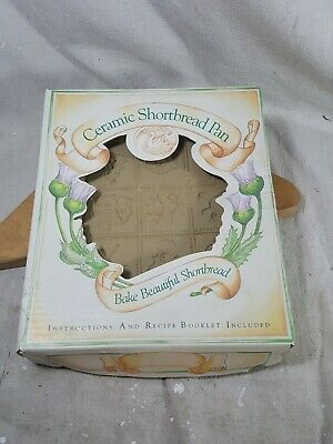 Vintage Brown Bag Cookie Art Mold Shortbread Pan Ceramic Christmas Theme In Box