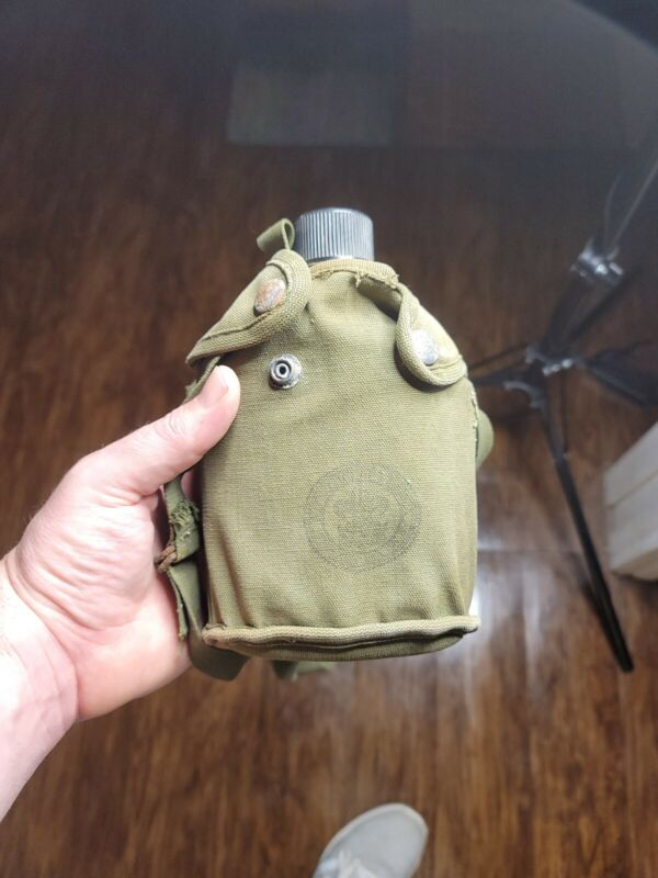 Vintage 1960s Boy Scouts Of America Canteen And Carry Strap And Cover named back