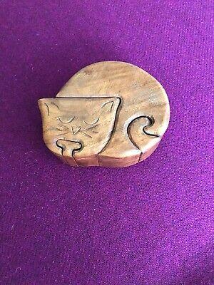 """Wooden Carved Cat Shape Puzzle Trinket Box 12.5 x 10.5 x 5cm (5 x 4 x2"""") secret"""