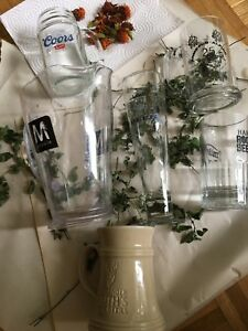 Beer Mugs, Glass,and Pitcher