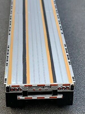 1/64 DCP SILVER TRANSCRAFT STEPDECK W/ BLACK FRAME & WHEEL BOX 2