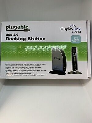 Docking Station With Video USB 2.0 Hi-Speed Plugable Windows Mac Compatible