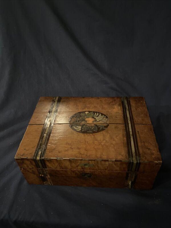 Antique Travel Lap Desk And Contents