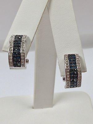 (Natural Diamond Cluster Earrings 925 Sterling Silver)