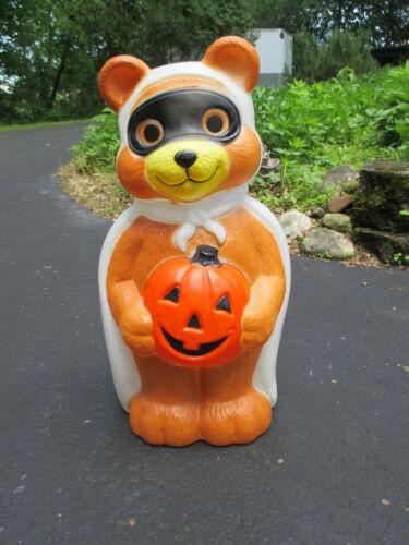 "Blow Mold Halloween Bandit Bear Pumpkin Empire Vtg Holiday Yard Decor 23"" Tall"
