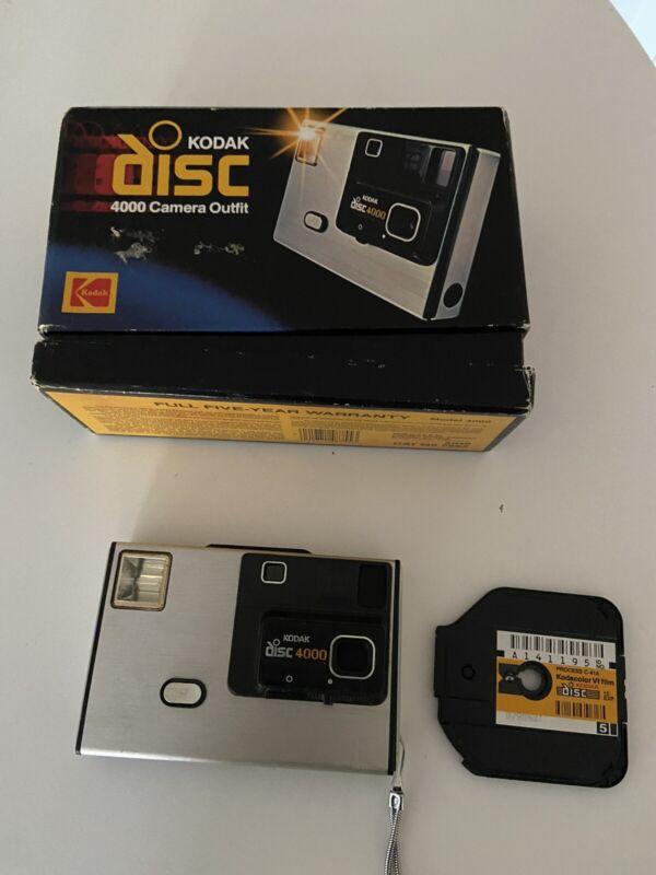 Vintage 1980s Kodak Disc 4000 Camera With Original Box & 1 disc of film USA made
