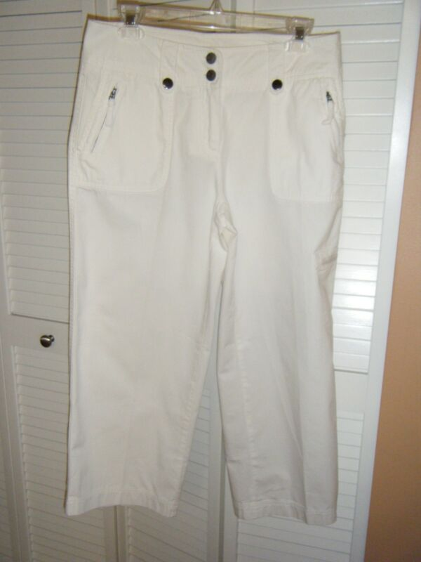 NY COMPANY COTTON SIZE 6 WHITE CAPRI WORN 6 TIMES CARGO POCKETS