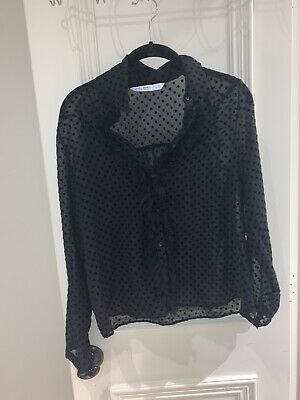 Zara Women's Black Pokadot Blouse Size Medium