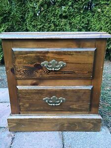 Brown 2 drawer end-side table