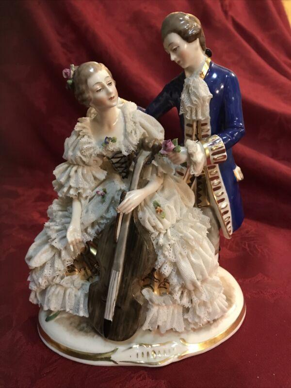 """Dresden Porcelain Lace Figurine Cello Gilt Details Large 8"""""""