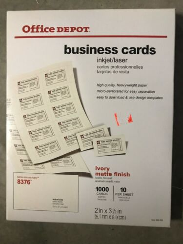 "2"" x 3.5"" Office Depot Brand Ivery Business Cards 8376 Pack Of 1000"