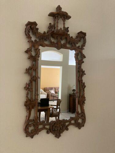 Hand Carved Wood Framed Mirror