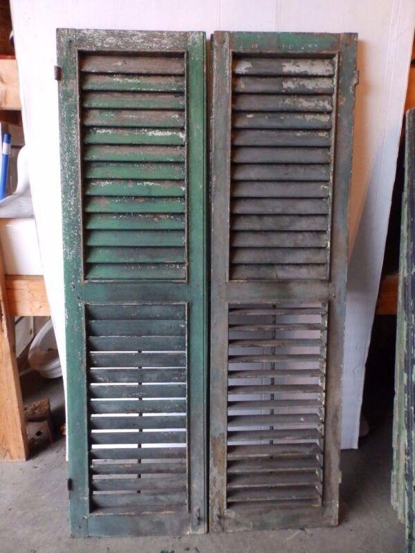 Pair Antique Shutters Door Window Louvered Vintage Heavy Old 17x62 2252-16