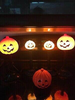4 Vintage Halloween Pumpkin Jack O' Lanterns Blow Mold Candle Lamps