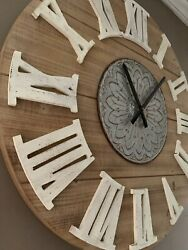 NEW Large Round Farmhouse 31.5 inch Wall Clock White Roman Numerals
