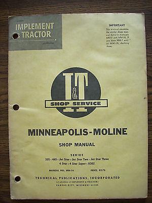 Mm Minneapolis Moline 335 445 Jet Star Jet Star Three 4 Star U302 Service Manual