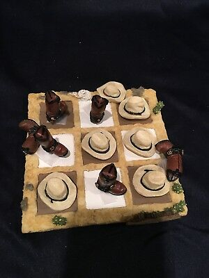 Western Cowboy Hat Boot Theme Tic Tac Toe Resin - Western Theme Games